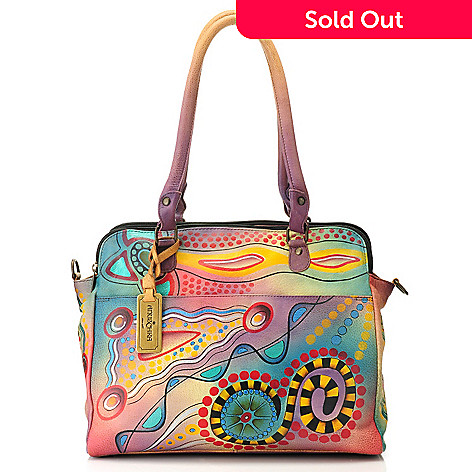 714-348 - Anuschka Hand-Painted Leather Multi Compartment Tablet Organizer Tote Bag