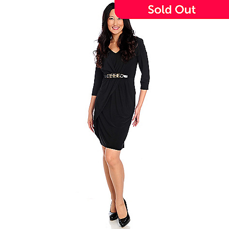 714-433 - aDRESSing WOMAN Stretch Knit 3/4 Sleeved Chain Detail Faux Wrap Dress