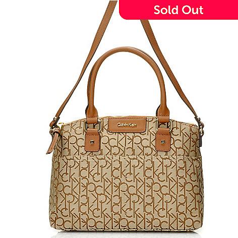 714-490 - Calvin Klein Handbags Logo Jacquard Convertible Satchel