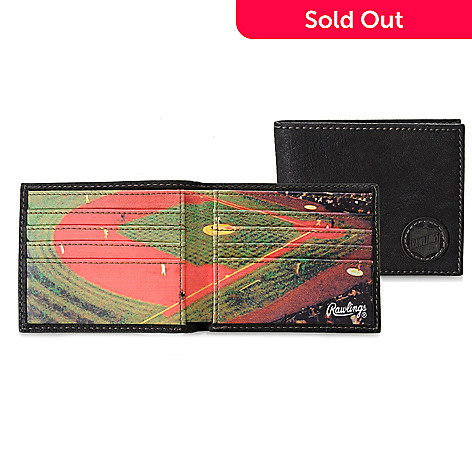 714-558 - Rawlings Men's Leather Baseball Field Bi-Fold Wallet