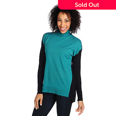 714-579 - Kate & Mallory® Fine Gauge Knit Drop Shoulder Color Block Hi-Lo Sweater