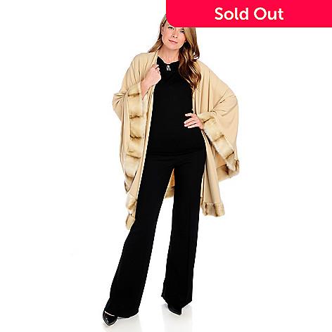 714-598 - Donna Salyers' Fabulous-Furs Ponte Knit Faux Fur Trimmed Wrap