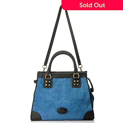 714-605 - PRIX DE DRESSAGE Suede Leather Double Handle North-South Shopper Tote Bag