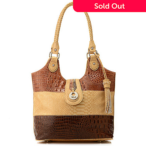 714-607 - Madi Claire Croco & Python Embossed Color Block Shopper Tote Bag
