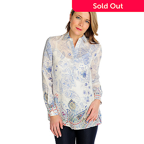 714-615 - Brooks Brothers 100% Silk Long Sleeved Paisley Printed Blouse w/ Tank Top