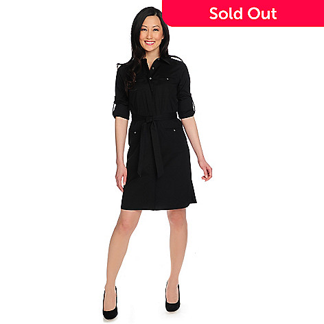 714-634 - Brooks Brothers Cotton Woven Roll Tab Sleeved Button Front Shirt Dress