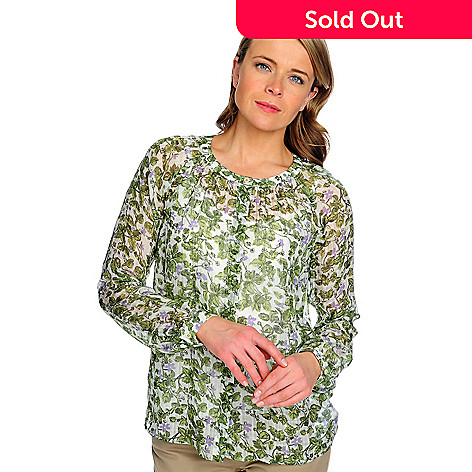 714-635 - Brooks Brothers Silk Blend Long Sleeved Printed Blouse w/ Silk Cami