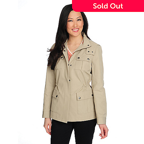 714-637 - Brooks Brothers Snap Closure Cinched Waist Removable Hood Safari Jacket