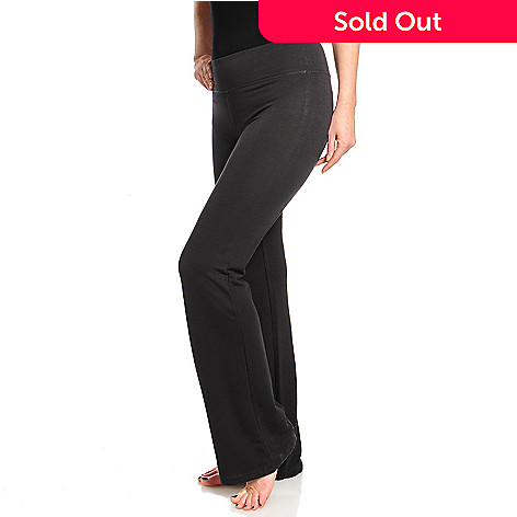 714-672 - One World French Terry Wide Waistband Boot Leg Yoga Pants