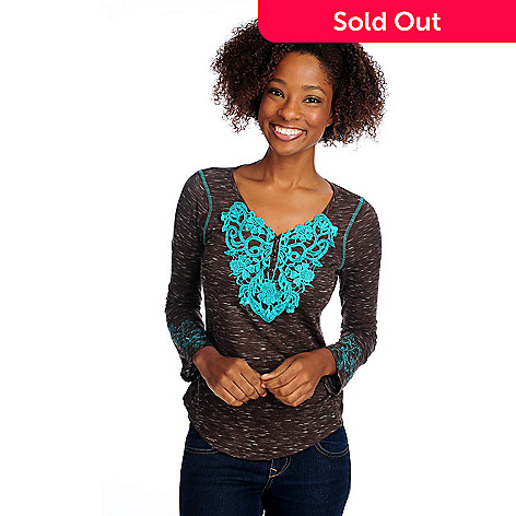 714-678 - One World Heathered Knit Embroidered Sleeve Lace Applique Henley Top