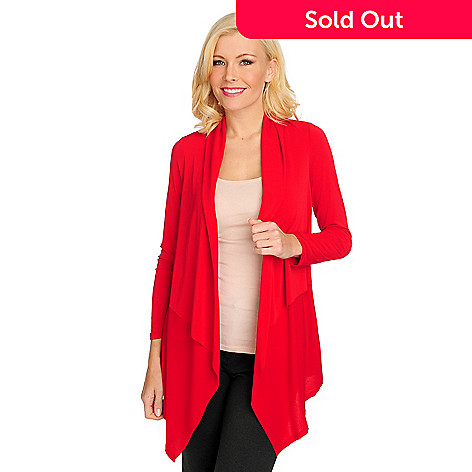 714-688 - Kate & Mallory® Crepe Knit Long Sleeved Open Front Cardigan Sweater