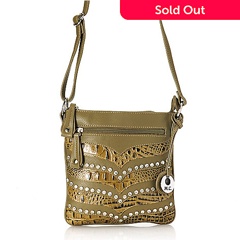 714-695 - Madi Claire Croco Embossed Leather Rhinestone Embellished Cross Body Bag