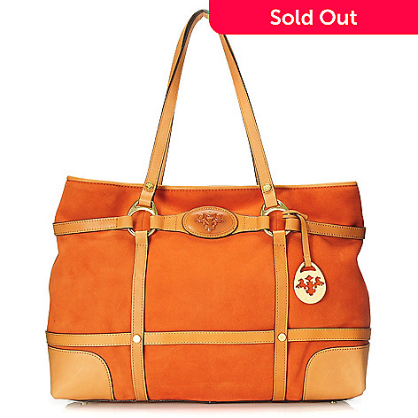 714-782 - PRIX DE DRESSAGE Suede Leather Double Handle East-West Tote Bag