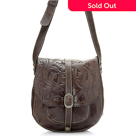 714-873 - Patricia Nash ''Barcelona'' Tooled Leather Flap-over Cross Body Saddle Bag