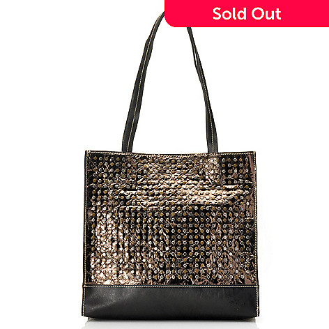714-880 - Patrica Nash ''Toscano'' Leather Double Handle Studded Tote Bag