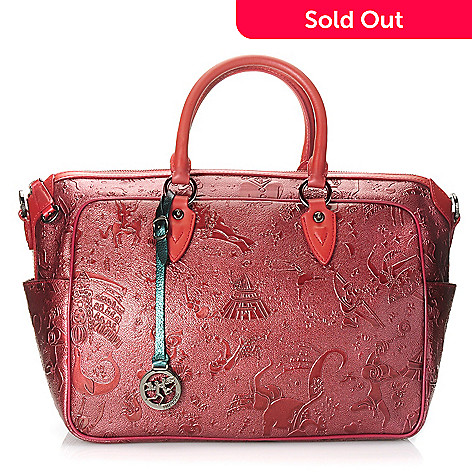 714-990 - Piero Guidi Embossed Magic Circus Golden Age Collection Satchel w/ Shoulder Strap