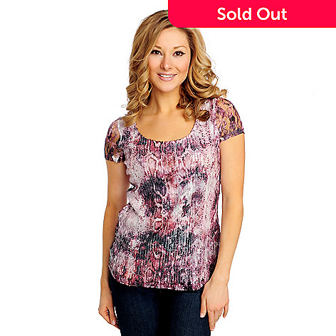 714-996 - Glitterscape® Sequined Lace Short Sleeved Animal Print Top