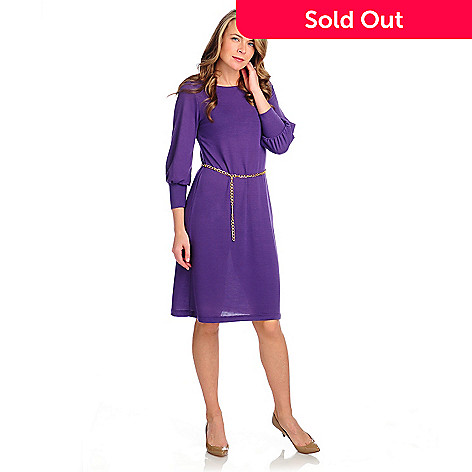 715-010 - Kate & Mallory® Stretch Knit 3/4 Sleeved Sweater Dress w/ Chain Belt