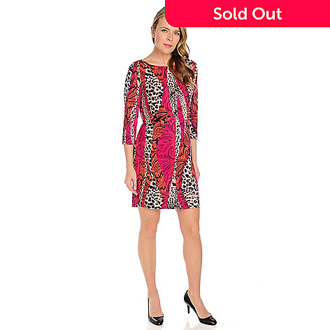715-012 - Kate & Mallory® Stretch Knit 3/4 Sleeved Boat Neck Printed Dress