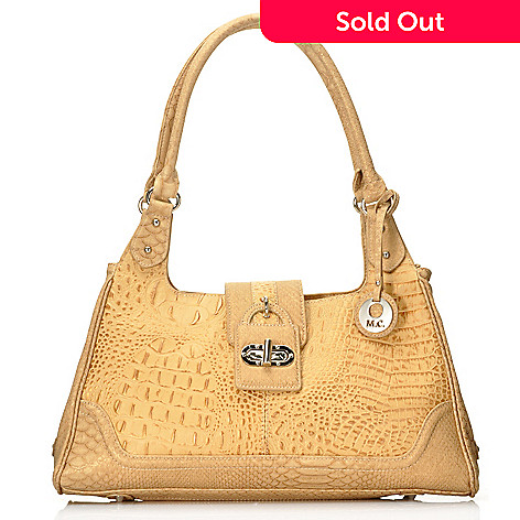 715-032 - Madi Claire Croco Embossed Pearlized Leather Double Handle Hobo Handbag