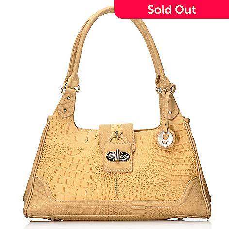 715-032 - Madi Claire Croco Embossed Pearlized Leather Double Handle Hobo Handbag