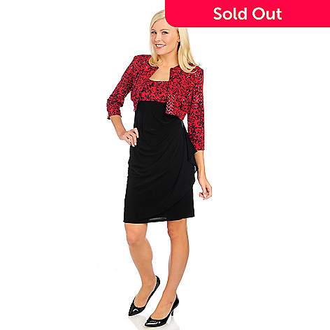 715-090 - aDRESSing WOMAN Stretch Knit Gathered Detail Sequined Dress w/ Cropped Jacket