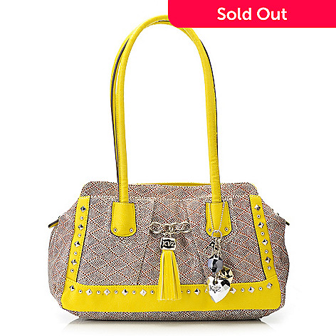 715-134 - Kathy Van Zeeland Double Handle  Multi Shaped Stud & Tassel Detailed Satchel