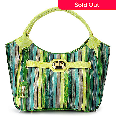 715-229 - Madi Claire ''Trixie'' Embossed Leather Double Handle Striped Hobo Handbag