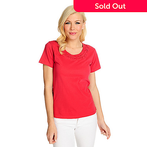 715-348 - OSO Casuals® Cotton Knit Short Sleeved Braided Neck Tee