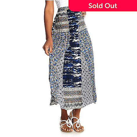 715-350 - OSO Casuals™ Woven Elastic Waist Multi Print Pieced Maxi Skirt
