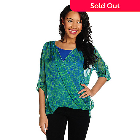 715-371 - One World Printed Chiffon Roll Tab Sleeved Faux Wrap Top w/ Knit Tank