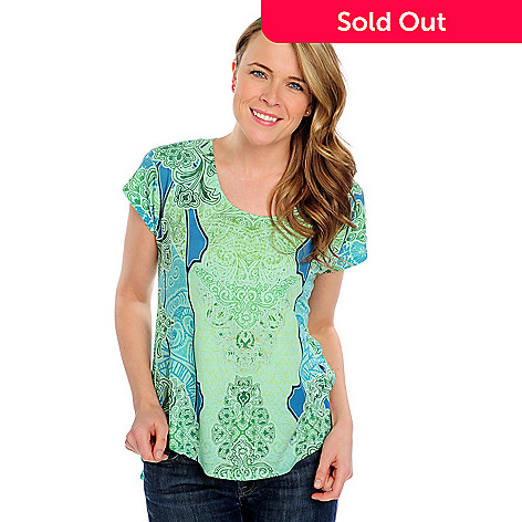 715-372 - One World Stretch Knit Chiffon Combo Short Sleeved Scoop Neck Top