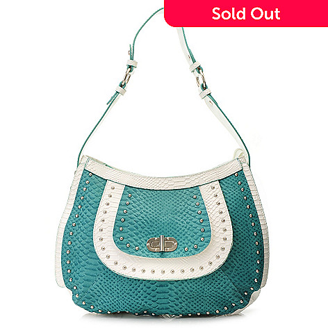 715-421 - Madi Claire ''Lori'' Snake Embossed Leather Zip Top Layered & Studded Hobo Handbag