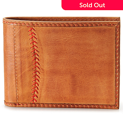 715-447 - Rawlings Men's Leather Baseball Stitched Bi-Fold Wallet