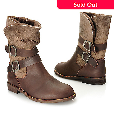 715-477 - EMU Sheepskin & Leather Double Belted & Buckled Biker-Style Boots