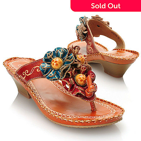 715-509 - Corkys Elite Hand-Painted Leather Slip-on Flower Detailed Thong Sandals