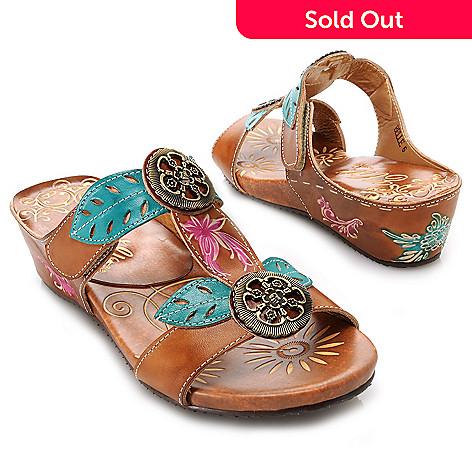 715-515 - Corkys Elite ''Belle'' Leather Hand-Painted Floral Medallion Slip-on Sandals