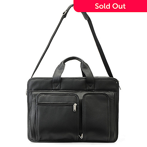 715-566 - Wilsons Leather Double Handle Expandable Multi Compartment Briefcase w/ Strap
