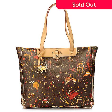 715-637 - Piero Guidi Coated Canvas Magic Circus Collection Zip Top Shopper Tote Bag