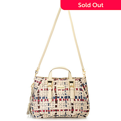 715-701 - Piero Guidi Coated Canvas Intreccio Art Collection Pleated Satchel w/ Strap