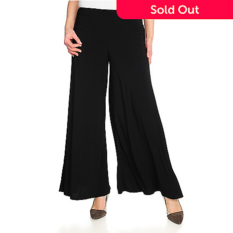 715-873 - aDRESSing WOMAN Stretch Knit Wide Waistband Pull-on Palazzo Pants
