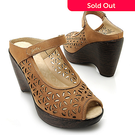715-918 - Jambu Leather Memory Foam Laser Cut Floral Design Peep Toe Wedge Sandals
