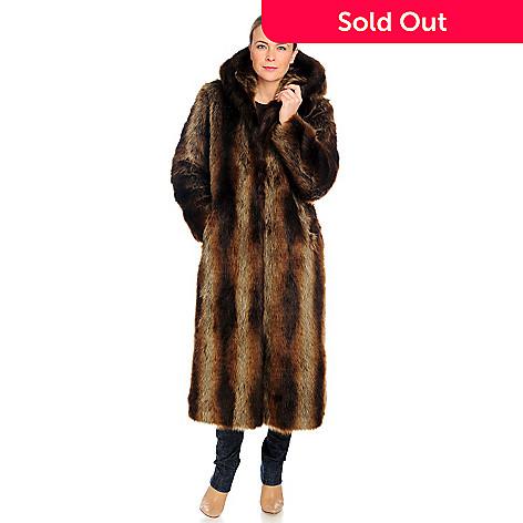 715-952 - Donna Salyers' Fabulous-Furs Faux Fur Full Length Hooded Coat