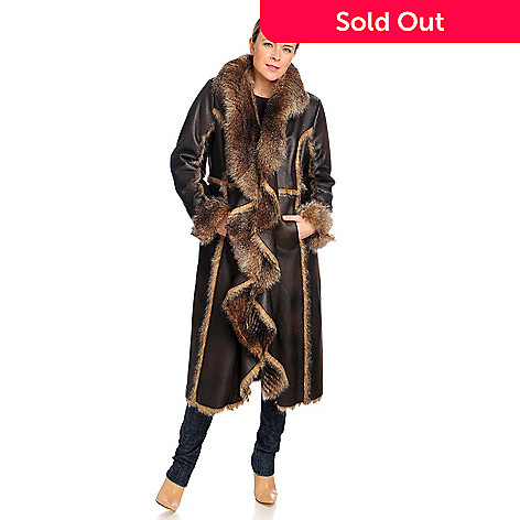 715-954 - Donna Salyers' Fabulous-Furs Faux Fur Shawl Collar Cascade Coat