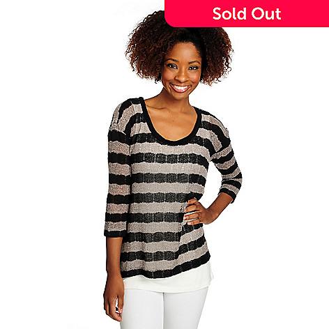 716-066 -  Kate & Mallory® Mixed Stitch 3/4 Sleeved Sweater w/ Knit Tank