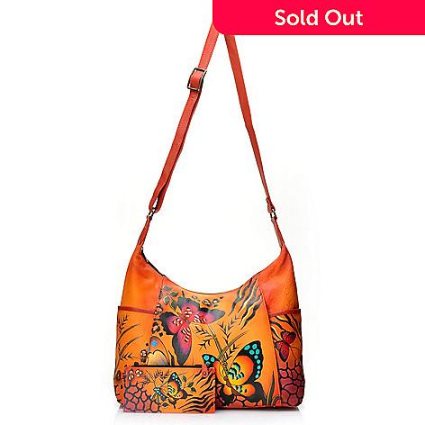 716-124 - Anuschka Hand-Painted Leather Zip Top Hobo Handbag w/ Credit Card Holder