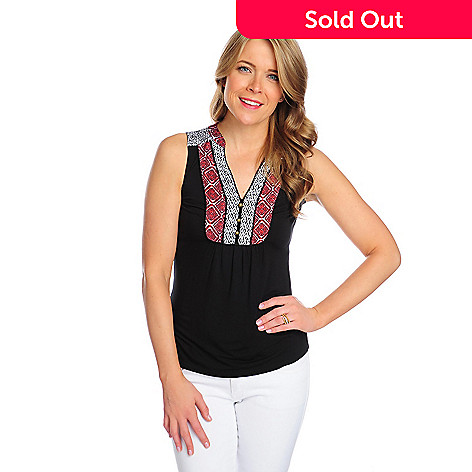 716-179 - OSO Casuals™ Stretch Knit Multi Print Button Detailed Henley Tank Top