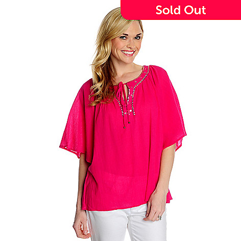 716-189 - OSO Casuals® Cotton Gauze Kimono Sleeved Embellished Neck Solid Top