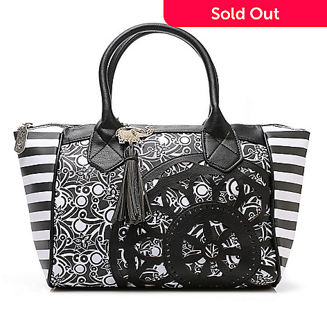716-251 - BollyDoll Printed Coated Canvas Double Handle Flower Patch Satchel w/ Strap