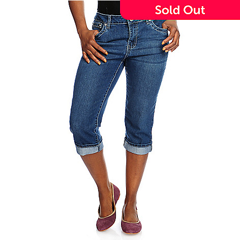 716-460 - Glitterscape® Stretch Denim Embellished Flap Pocket Cuffed Capris